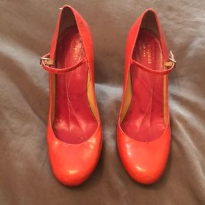 Kate Spade hot pink patent leather Mary Jane's